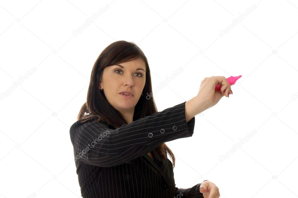 Business woman holding a pen  Stock Photo #13552782