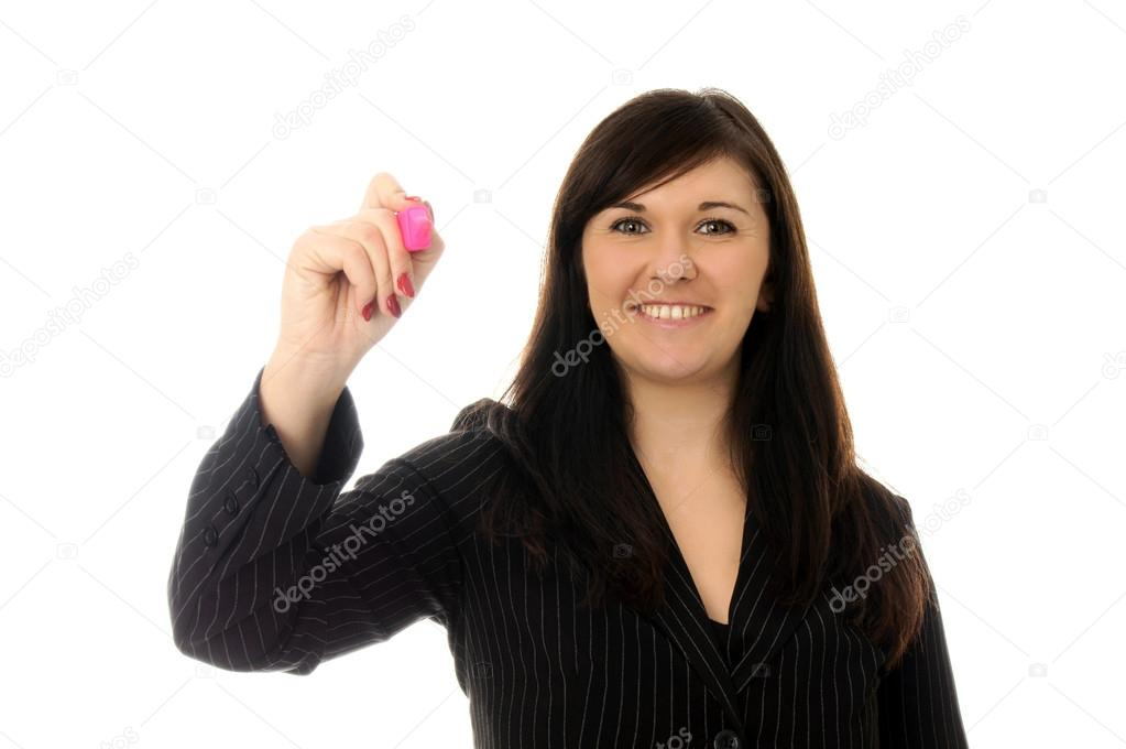 Business woman holding a pen — Stock Photo #13552890