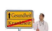 Doctor and Sign — Stock Photo