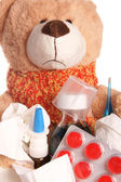 Ziek teddy — Stockfoto