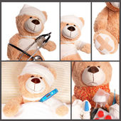 Sick Teddy - Collage — Stock Photo