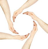 Hands in a circle — Stock Photo