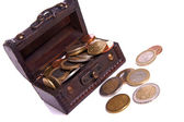 Chest with coins — Stock Photo