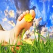 Feet with flower — Stock Photo