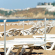 Beach with sunbeds — Stock Photo
