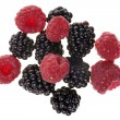 Stock Photo: Blackberries and raspberries