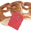 Pretzel with shield — Stock Photo