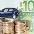 Stock Photo: Car and Euro Money