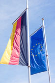 Germany flag and flag of Europe — Stock Photo