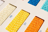 Fabric patterns - color card — Stock Photo