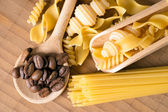 Pasta and Coffee Beans — Stock Photo