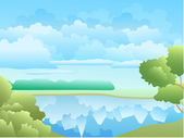 Reflection in the lake — Stock Vector