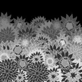 Black and white vintage background with hand drawn flowers. — Stock Vector