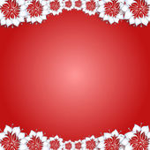 White flowers on red background — Stock Vector