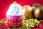 Christmas cupcake with decoration — Stock Photo