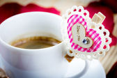 Coffee with Valentine heart — Stock Photo
