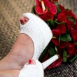 Wedding bouquet shoes — Stock Photo