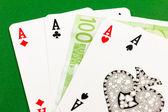 Four aces  - gamble euro money — Stock Photo