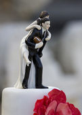 American football wedding cake topper — Stock Photo