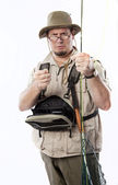 Proud fly fisherman — Stock Photo
