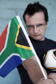 Intensive südafrikanischen Fußball-fan — Stockfoto