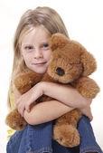 Teddy Bear and Girl — Stock Photo