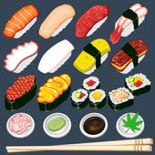 Japanese Sushi Collection Set — Vettoriale Stock