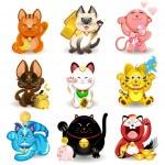 Maneki Neko Fortune Cat Collection — Stock Vector