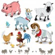 Farm Animals Collection Set 01 — Vector de stock