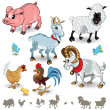 Stock Vector: Farm Animals Collection Set 01
