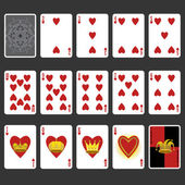 Heart Suit Playing Cards Full Set — Stock Vector