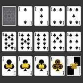 Club Suit Playing Cards Full Set — Stock Vector