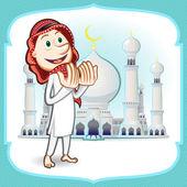 Eid mubarak la tarjeta de felicitación — Vector de stock