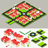 Isometric Cluster House Collection Set — Stock Vector