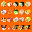 Japanese Sushi Collection Set — Stock Vector #30799041