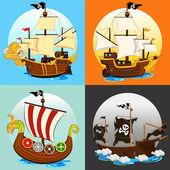 Insieme di raccolta nave pirata — Vettoriale Stock