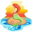 Mermaid Siren Mythological Creature — Stock Vector