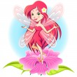 Fairy Princess Flying Above a Flower — Stock Vector