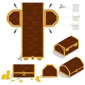 Treasure Chest Packaging Box Design — Stock Vector