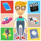 Type Of Nerd Geek Dork Guy — Stock Vector