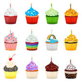 Cupcakes Vector Illustration Collection Set — Stock Vector