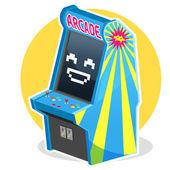 Blue Vintage Arcade Machine Game — Stock Vector