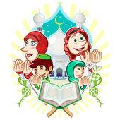 Islam Eid Mubarak Greeting Card Illustration — Stock Vector