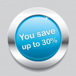 Vector de stock : Blue button save 30 percent
