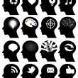 Set of 16 head icons with idea symbols — Stock Vector