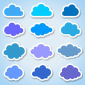 Set of 12 paper colorful clouds — Stock Vector
