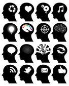 Set of 16 head icons with idea symbols — Stock Vector