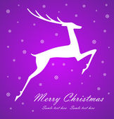 Christmas deer on violet background — Stock Vector