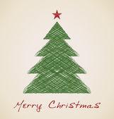 クリスマスのスケッチのモミの木 — ストックベクタ