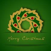 緑色の背景でクリスマス金ガーランド アップリケ — ストックベクタ
